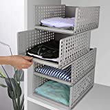 Hossejoy 4 unidades apilables armario organizador de almacenamiento de plástico desmontable estantes cajones cestas divisores cajas para ropa vestidor dormitorio (gris)