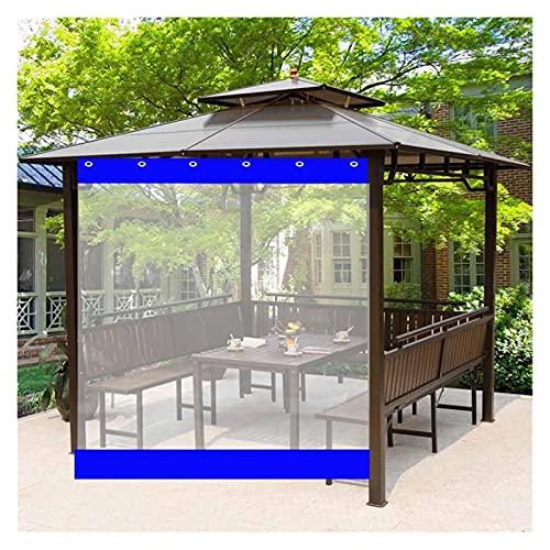 KUAIE Trasparenti Tende Impermeabile 0,5mm Antipioggia Telone for Terrazza, Gazebo, Giardino, Tende Esterno (Color : Clear Blue, Size : 1.2x2.5m)