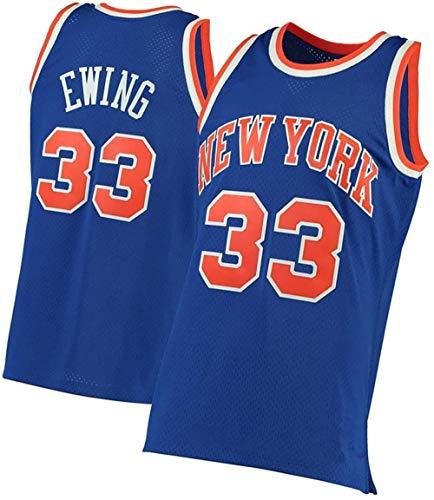 BBJOZ Bordado Knicks 33 Ewing Camisetas de Baloncesto Fan Edition Retro Top Poliéster Malla Uniforme de Baloncesto Chaleco Estudiantes universitarios Sudadera Regalos para fanáticos XL-Medio