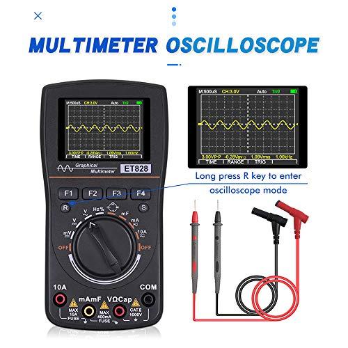 VISLONE Multimeter Digital, ET828 Hochauflösendes Spannungsprüfer Intelligentes Grafisches Digitales Oszilloskop-Multimeter 2 in 1 mit 2,4-Zoll-Farbbildschirm 1 MHz Bandbreite 2,5 Msps Abtastrate