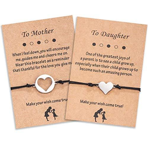 Juego de pulseras para madre e hija, joyería familiar, cuerda hecha a mano, regalo para dos pulseras de corazón hechas a mano, mejores amigos, mujeres, niñas, pulsera