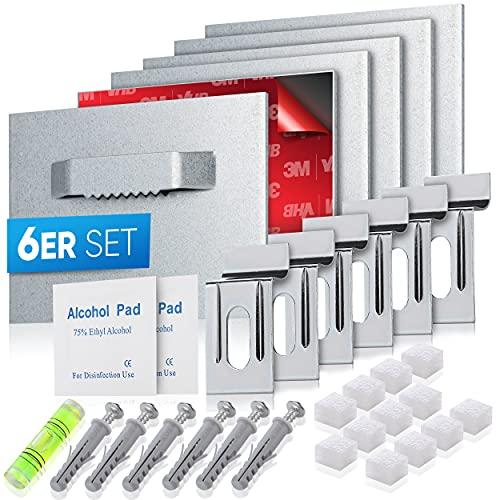 pearway™ - Alu Dibond und Acrylglas Aufhängung - [6er Set] - extra starker 3M Kleber - bis zu 8kg - Befestigungsset zum Aufhängen für Bilder oder Spiegel