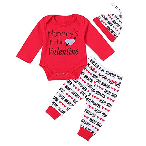 NELNISSA Lente Mode Leuke Valentijnsdag Baby Rompers Set Broek Hoed Zachte Outfits