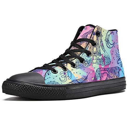 LORIES - Zapatillas de deporte para mujer con diseño de elefante de estilo bohemio y arcoíris, multicolor, (multicolor), 37 EU