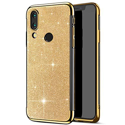 Robinsoni Cover Compatibile con Huawei P Smart 2019 Custodia Flessibile Huawei P Smart 2019 Cover Silicone TPU Brillante Glitters Cover Sparkle Bling 360 Gradi Custodia Gomma Ultra Morbido Cover Oro