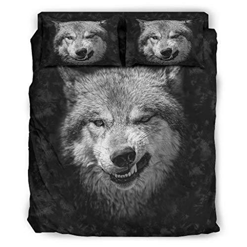 Fybirds Wild Angry - Juego de cama de lujo con cara de lobo negro y suave de poliéster para niñas y niños, 228 x 264 cm