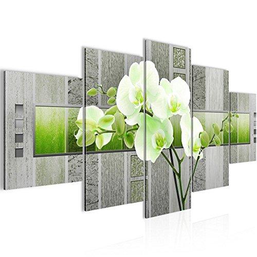 Bild 200 x 100 cm - blumen Bilder- Vlies Leinwand - Deko für Wohnzimmer -Wandbild - XXL 5 Teilig Teile - leichtes Aufhängen- 800751b
