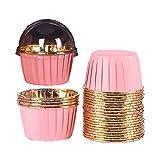 Gfdg Moldes de Papel de Aluminio para Hornear,50 Piezas Papel de Aluminio para Cupcakes,Papel para Magdalenas,Moldes de Papel para Magdalenas,para Muffins y Cupcakes,Moldes para Pastelería