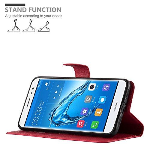 Cadorabo Hülle für Huawei NOVA Plus - Hülle in Karmin ROT – Handyhülle mit Kartenfach und Standfunktion - Case Cover Schutzhülle Etui Tasche Book Klapp Style - 3