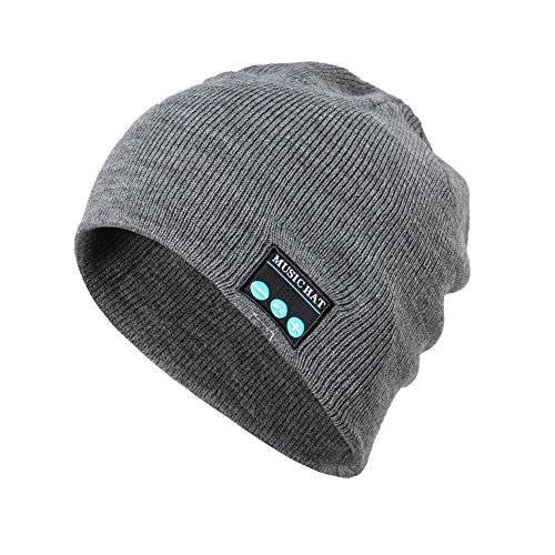 Knit hat with stereo speakers & microphone