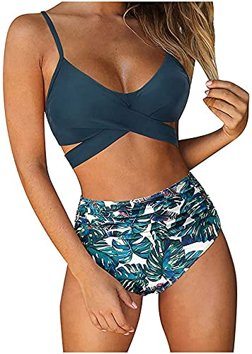 LINGZE Damen Bikinis mit hoher Taille Push-Up Gepolsterter Badeanzug mit Bindeknoten Schmeichelnder Badeanzug Damen Bikini-Set mit Sonnenblumen-Print, Spaghetti-Trägern, Schnürung, Gepolstertes BIK
