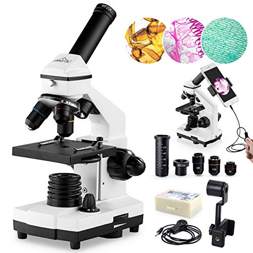100X-2000X Microscopes for Kids Students Adults, with Microscope Slides Set, Phone Adapter, Powerful Biological Microscopes for School Laboratory Home Education