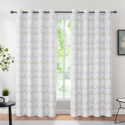 """Damask Print Curtains for Bedroom 84 inch Long Vintage Natural Ivory Floral Pattern Window Drapes Beige White Blackout Thermal Insulated Curtains for Living Room, Grommet Ring Top, 52""""wide 2 pcs"""