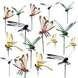 KINGLAKE 16 Stücke Libelle Stakes Garten Libellen Ornamente mit Stick für Outdoor Gartenpflanze Dekor Hof