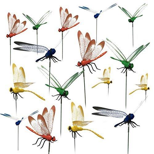 16pcs libélula Juego Jardín decoraciones de libélulas con Stick para al aire libre jardín planta decoración patio