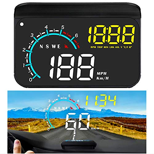 FIUNED Car Head up Display,Upgrade Universal Car HUD Dual Mode OBD2/GPS Windshield Projector with Speed,Digital Clock,OverSpeed Alarm, KMH/MPH,Mileage Measurement,for All Vehicles