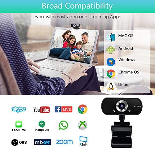 Kdely Webcam mit Mikrofon USB PC HD Streaming Webcam 1080P Plug und Play Web-Kamera für Videochat und Aufnahme Kompatibel mit Windows/Mac/Linux/Android/Skype/YouTube/Zoom/Facebook/Facetime