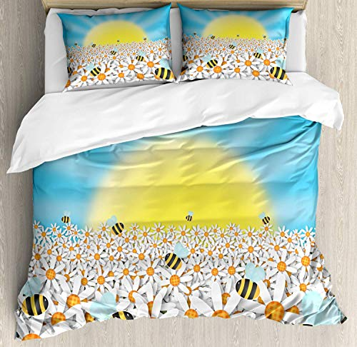LREFON Lightweight Breathable Warm 3-Piece Bedding Set 86'X70' Flower Landscapes of a Day with Daisies and Bees Buzzing Twin Size Comforter