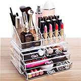 Clear Makeup Organizer Skin Care Cosmetic Display Cases Stackable Storage Box Make up Container Cube With 4 Drawers,Set of 2 By Cq acrylic