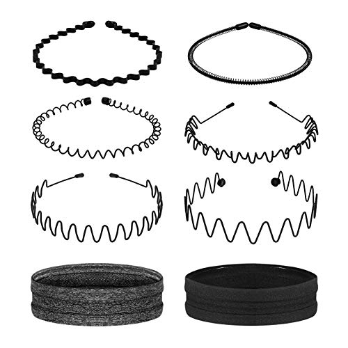 Lurrose 6 Stück Metall Haarband für Männer Frauen Kamm Stirnbänder & 2 Stück Sport Stirnbänder Schweißband Unisex Haarbänder Welligen Haarbügel für Zuhause Outdoor...