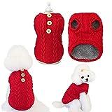 Tineer Perros pequeños Suéteres Chaleco de Lana, Jersey de Punto para Cachorros Suéter Invierno Cálido Ropa para Perros Mascotas Gatos Prendas de Punto Ropa (L, Rojo)
