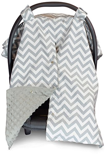 2 in 1 Carseat Canopy and Nursing Cover Up with Peekaboo Opening | Large Infant Car Seat Canopy for Girl or Boy | Best Baby Shower Gift for Breastfeeding Moms | Chevron Pattern with Grey Minky