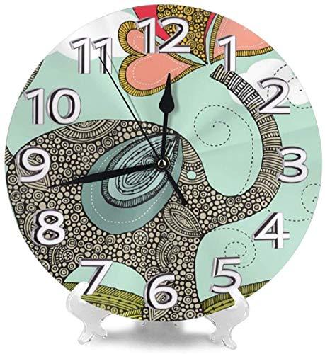 XXNZZJ Co.,ltd Reloj de Pared Redondo Relojes de Escritorio de Elefante Lindo silencioso Decorativo para Gimnasio Hotel Creatividad precisa