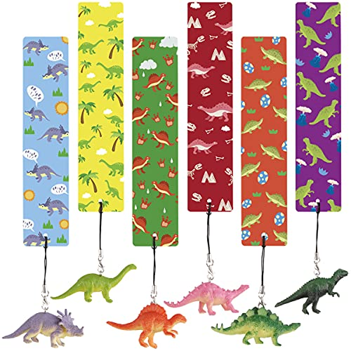 12 Pcs Dinosaur Bookmarks with Dinosaur Figures, Dino Bookmarks for Kids, Children, Boys and Girls, Excellent Party Favors, School Classroom Prize, Reading Rewards, Birthday Present, Goody Bag.