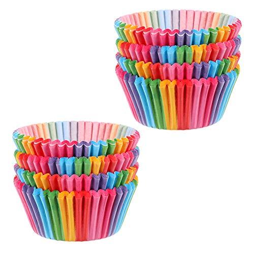 upain Muffinförmchen Papier Cupcake Wrappers Regenbogen Papier Fällen Liners für Dessert Backen Geburtstag Hochzeit Party 100 Stück