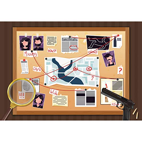 Allenjoy 7x5ft Spy Backdrop Detective Police Mystery Investigation Photograhy Background FBI Baby Shower Top Secret Mission Birthday Party Supplies Crime Clue Evidence Decorations Photo Booth