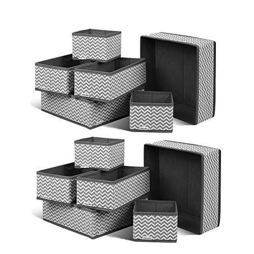 Homfa 12 Stück Aufbewahrungsbox Stoff Set faltbar Unterwäsche Socken Organizer Ordnungsbox Faltbox Stoffbox für Schubladen Ordnungssystem grau