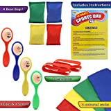 KreativeKraft Sports Day Kit | Giant 18 Pieces Mega Set For Traditional Outdoor Lawn Games & Garden Races Includes Sack Race, Egg And Spoon, Bean Bag Toss Game | Family Games For Adults And Kids