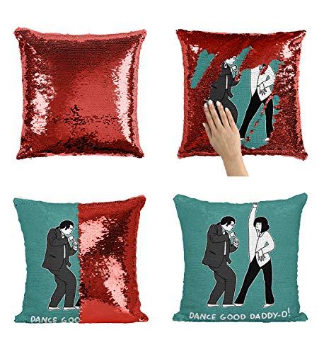 Dancing Travolta Pulp Fiction Cuscino Sequin Pillow, Scales Cuscino, Magic Reversible Pillow, Cuscino divertente, Federa Decorativa (federa)