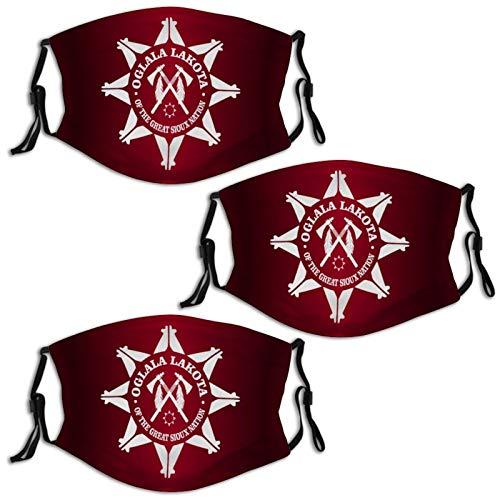 Oglala Lakota Sioux (1) 3 PCS Face Mask Reusable Bandana Scarf Print Customized Adjustable Ear Loops Nose Wire Washable Comfortable