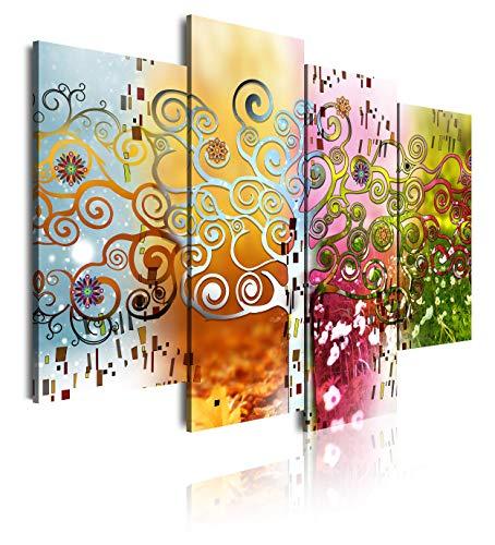 DekoArte 528 - Cuadros Modernos Impresión de Imagen Artística Digitalizada | Lienzo Decorativo para Tu Salón o Dormitorio | Estilo Abstractos Arte Árbol de la Vida de Gustav Klimt | 4 Piezas 120x90cm