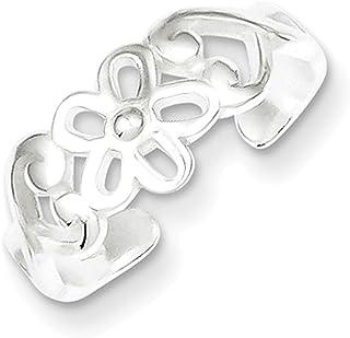 Lex & Lu Sterling Silver Flower Toe Ring