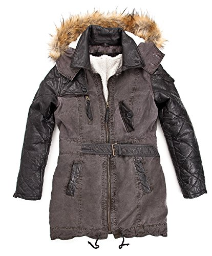 Maze Damen Parka Mit Echtem Fell Whitby Black/Purple L braun