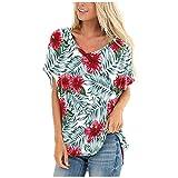 Rifuli Damen Tops V Neck Tie Dye Bluse T-Shirt Casual Kurzarm und Langarm T-Shirts