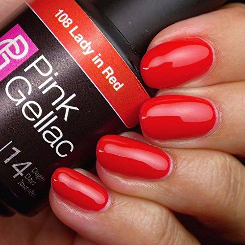 Smalto semipermanente Pink Gellac - 108 Lady in Red 15 ml LED UV GEL Rosso