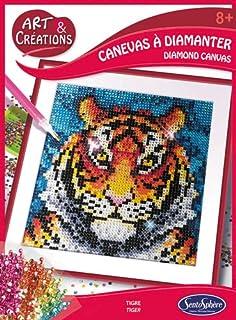 Sentosphere 02027 zestaw do majsterkowania, obraz z kamieniami strasu, motyw tygrysa, kreatywny zestaw, DIY dla dzieci i d...