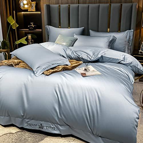 funda nordica cama 90,La seda de lavado de agua de verano es un juego de cama de lujo ligero en una sola cama de cuatro piezas-U_1,5 m la cama (4 piezas) [Adecuado para el núcleo 200x230cm]