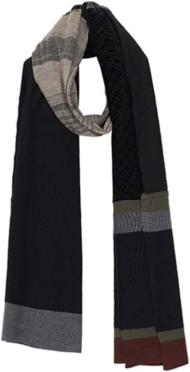 ZANZAN Cold Weather Scarves Men's Autumn and Winter Scarf, Thick Warm Knitted Stitching Contrast Color Lengthened Simple Scarf Decorative Scarf