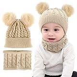 Yutdeng Bambino Cappello Sciarpa Set Inverno caldo Winter Warm Knitted Beanie Cappelli Ragazzo Ragazza Invernali Regali con Pom Pom 0-3 Anni