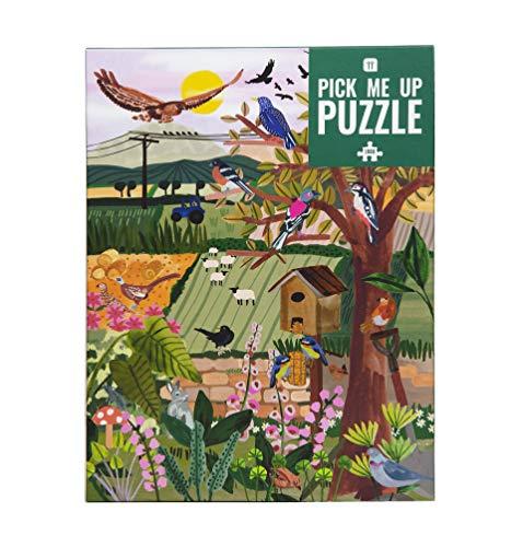 Talking Tables Puzzle 1000 pezzi campagna inglese e uccelli britannici; Con poster e foglietto abbinati; Design illustrato colorato, regalo di compleanno, regali per giardinieri, arte della parete