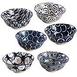 BARONI Set 6 Ciotole per Gelato, Antipasti o Dolci in Ceramica Samarcanda Blu 13x13x7 cm