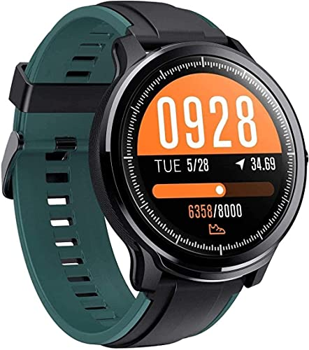 Reloj Inteligente 1 3 Pulgadas Pantalla Deportes Podómetro Pulsera IP68 Mensaje Impermeable Push Recordatorio Pronóstico del Tiempo Android/IOS-Verde