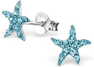 925 Sterling Silver Hypoallergenic Aqua Blue Crystal Starfish Stud Earrings 22272