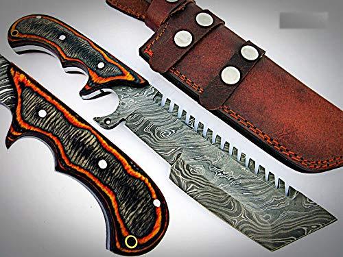 TR-1097, CUSTOM HANDMADE DEMASCUS STELL TRACKER KNIFE – TWO TONE DOLLAR SHEATH HANDLE