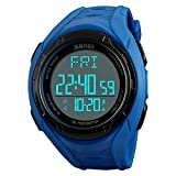 Waterproof Digital Sports Watch, Non Bluetooth Pedometer Watch with Step Counter Stopwatch Countdown