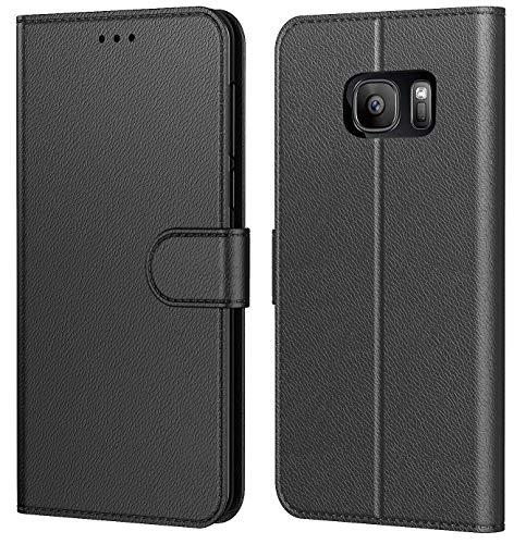 Tenphone Coque pour Samsung Galaxy S7 Edge,Portefeuille Pochette Protection Etui Housse Premium en Cuir PU,Fermeture Magnétique,Plusieurs Couleurs Dispo pour (Galaxy S7 Edge (5,5 Pouces), Book Noir)